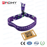 Wristband tejido RFID disponible con el bloqueo plano plástico