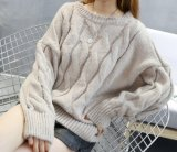 Круглой горловины втулку длинными рукавами ослабление свитер женщина (BTQ206)