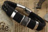 De hete Magnetische Gesp Bracelets&Bangles van het Roestvrij staal van de Armbanden van het Leer van de Verkoop Zwarte Gevlechte voor Mensen Boyfirend