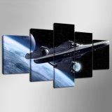 現代キャンバスは居間のためのモジュラー装飾映像の壁映像を塗る5つのパネルのStar Trek Alandscapeのキャンバスを印刷する