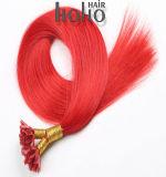 16 polegadas unha vermelha/U Dica de cabelo humano a extensão com cabelos queratina italiana