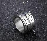 Anillo rotativo del acero inoxidable del número de fecha del anillo del hilandero de los hombres punkyes y del número romano para el muchacho
