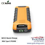 El tipo rápido C Pd30W de la carga QC3.0 adelgaza el coche portable Jumpstarter (18000mAh)