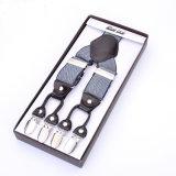 Эластик Webbing жаккарда связывает кожаный подтяжки одежды отверстий кнопки (RS-17021D)