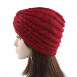 Женщин трикотажные Red Hat Креста спицы ношение тюрбана капот купол зимой Индии цоколь Red Hat (HW129)