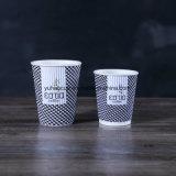8oz desechables biodegradables rizado aislados de vasos de papel de pared