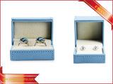 Коробка ювелирных изделий PU способа коробки упаковки ювелирных изделий голубой бумаги