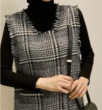 Gilet initial de Madame Plaid Wool Long Leisure d'OEM