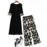 Nuova riga di velluto e di vestiti lunghi delle donne con i vestiti lunghi e le stampe lunghe
