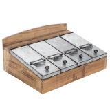 Organizador de la madera de verificación de la tapa de metal con separadores