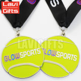 L'approvisionnement fait sur commande de producteurs de médaille en métal de plaque d'or Stars la médaille professionnelle de souvenir de sport de tennis avec des lanières de qualité