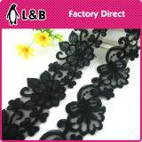 Шнурок гипюра вышивки Sequin черноты шнурка одежды способа высокого качества