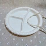Trois plaques remplaçables d'assiette de compartiments de partie ronde de fécule de maïs