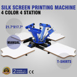 4 печатная машина давления шелковой ширмы станции цвета 4