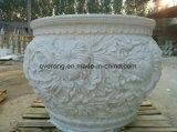 Stand grand pot de fleur de marbre de pierre à sculpter avec la colonne pilier de la conception pour jardin extérieur Deorative