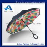 De promotie Dubbele Omgekeerde Paraplu van de Laag Omgekeerde met het Handvat van de Vorm van C, Handfree Hand Open Paraplu, Auto Umbrell, Rechte Lange Paraplu Rainshade