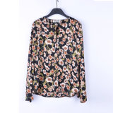 中国の熱い販売の夏の半分の袖の花によって印刷される女性の毎日の摩耗のブラウス