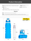 Il migliore regalo di Natale BPA insipido libera la bottiglia pieghevole del depuratore di acqua del silicone per esterno