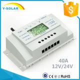 contrôleur d'énergie solaire de 12V/24V 40A avec le contrôle T40 de Light+Timer