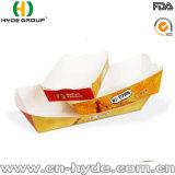 Rectángulo de papel frito aduana del alimento con insignia