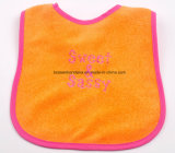 중국 공장 생성 주문 로고에 의하여 수를 놓는 주황색 니트 면 아기 유아 목 수도꼭지