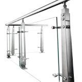 Escaleras de acero inoxidable de alta calidad el pasamanos Soporte Estante de cristal (9110)