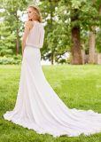 白く軽くて柔らかいイブニング・ドレス袖なし浜の庭旅行花嫁のウェディングドレスZ4002