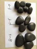 Seixo de pedra ajardinando natural de tamanho grande do rio com cor preta