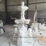 Pierre de marbre blanc naturel perfectionné Lion Animal petite fontaine