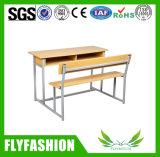 Escritorio doble asociado de madera de la escuela con la silla (SF-34D)