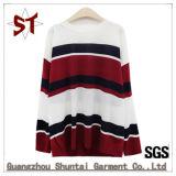 Mulheres 100% do algodão Stripes Ribs&#160 de confeção de malhas; T-shirt