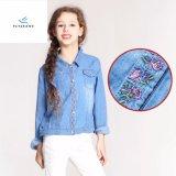 Camicia lunga snella del denim del manicotto di svago di modo per le ragazze dai jeans della mosca