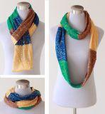 Для женщин и женщин шеи теплее фантазии тонкой золотой фольги трикотажные петля Snood шарфом (SK151)