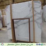 Los materiales de construcción de losas de mármol blanco Calacatta/baldosas con venas