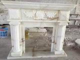 Естественная белая скульптура Surround каминной доски каменного камина высекая камин
