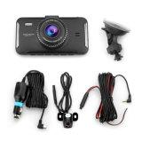 """4"""" Mini coche DVR Grabador de vídeo de doble lente de visión nocturna de la Cámara de aparcamiento coche Auto Black DVR cámara WDR Full HD 1080P de la leva de guión"""