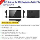 Android Market 6.0 Quádruplo 5.0inch Dash WiFi Câmara Tablet PCS com navegação GPS veicular, FHD1080p carro DVR, Câmara de Estacionamento Traseiro; 5.0Mega carro GPS Navigator,bluetooth,FM