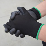 13のゲージ黒いポリエステルはさみ金PUの手袋の製造
