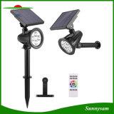 4 LED RGB Télécommande Spot à lumière solaire Outdoor Pelouse lumière solaire