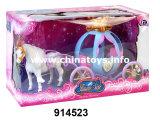 Più nuovo cavallo di plastica con la bambola sana impostata (914526)
