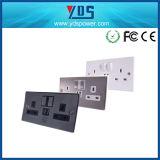 5V 2.1A het UK Chrome Dual USB Wall Socket met Switch