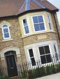La mosca movible defiende la ventana colgada la madera revestida de aluminio, ventana de aluminio colgada doble de la alta calidad para residencial