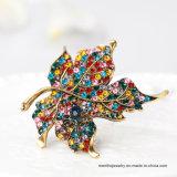 계산서 형식 단풍나무 잎 모양 여자를 위한 다채로운 모조 다이아몬드 브로치 보석