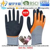 el nitrilo 3/4 de Shell del poliester 13G cubrió interno, guantes externos cubiertos pulgar del nitrilo de Sandy (N2002) con el CE, En388, En420, guantes del trabajo