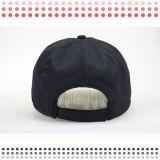 6 Panel-schwarze Großhandelsbaseballmützen für Verkauf