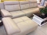 Couleur crème L sofa de forme, sofa moderne, sofa en cuir (SA25)