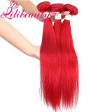 똑바른 아름다움 빨간색 Remy Virgin 페루 머리 씨실 사람의 모발