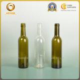 Пустая верхняя часть бутылка 375ml пробочки зеленая и ясная красного вина стеклянная (026)