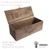 Doos van de Verpakking van de Gift van de Fles van het Glas van de Wijn van de Luxe van Hongdao de In het groot Houten met het Embleem _E van de Douane