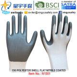 13G Polyester Shell Nitrile Coated Gloves (N1501) Smooth Finish с CE, En388, En420, Work Gloves